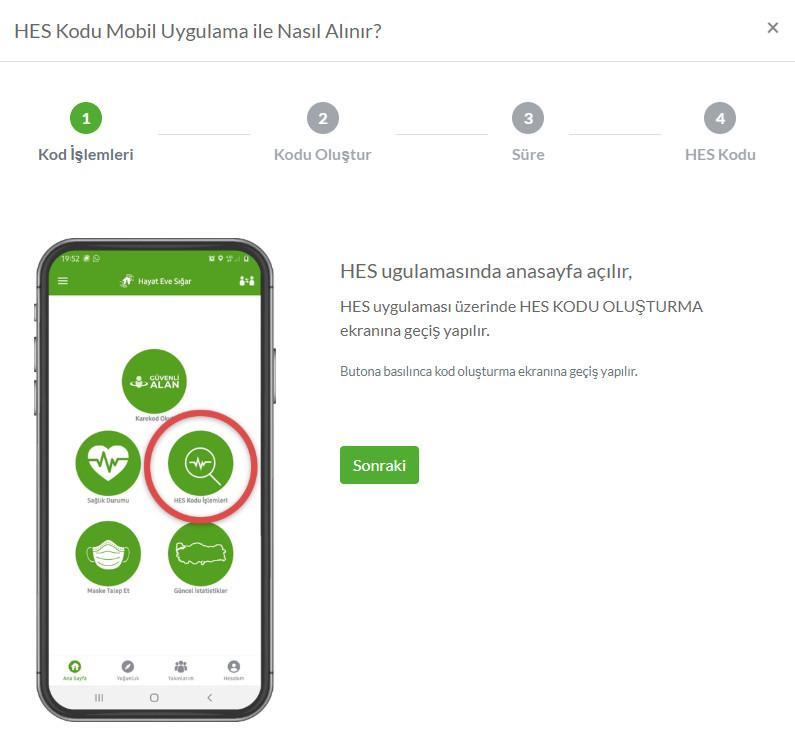 HES Kodu Mobil Uygulama ile nasıl alınır? (1)